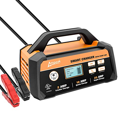 - Ampeak 2/10/25A Smart Battery Charger/Maintainer 12V Fully Automatic with Start Aid
