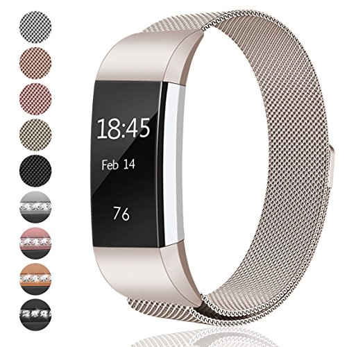 Fitbit Charge 2 Bands Small & Large for Women Men Girls, hooroor Milanese Loop Stainless Steel Metal Bracelet Strap with Unique Magnet Lock, No Buckle Needed for Fitbit Charge 2 - Two Tone Pattern