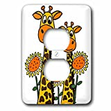 3dRose LSP_263942_6 Funny Cool Giraffes and Sunflowers Art Plug Outlet Cover, Multicolor