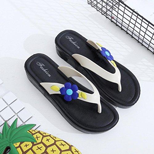 Damen Zehentrenner, Yogogo Blumen kühlen Anhänger weiche Pantoffel Strand Flip Flops Schuhe (40, Rosa)