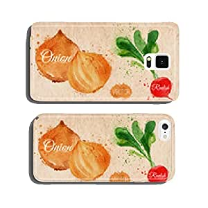 Vegetables watercolor radishes, onions, potatoes, champignons cell phone cover case Samsung S5
