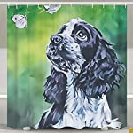 SARA NELL Shower Curtains Black and White English Cocker Spaniel Butterfly Oil Painting Shower Curtain Fabric Waterproof Fabric Bathroom Curtain Set with 12 Hooks - 72 x 72 Inch 7