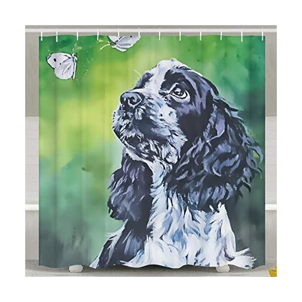 SARA NELL Shower Curtains Black and White English Cocker Spaniel Butterfly Oil Painting Shower Curtain Fabric Waterproof Fabric Bathroom Curtain Set with 12 Hooks - 72 x 72 Inch 2