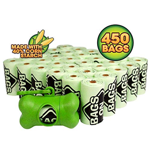 Bags on Board Sustainable Dog Poop Bags and Bag Dispenser | Made with 40% Corn Starch | 450 Dog Waste Bags