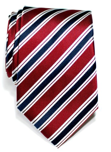 Retreez Preppy Stripe Pattern Woven Microfiber Men's Tie - Maroon Red and Navy Blue