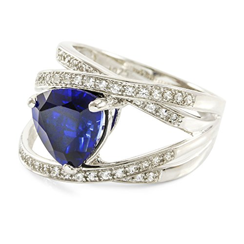 Glamouresq Sterling Silver 14k White Gold Plated Created Trilliant Cut Sapphire & White Sapphire Women's Ring, Size 7