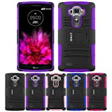 LG G4 Case, HLCT Rugged Shock Proof Dual-Layer PC and Soft Silicone Case With Built-In Kickstand for LG G4 (2015) (Purple)