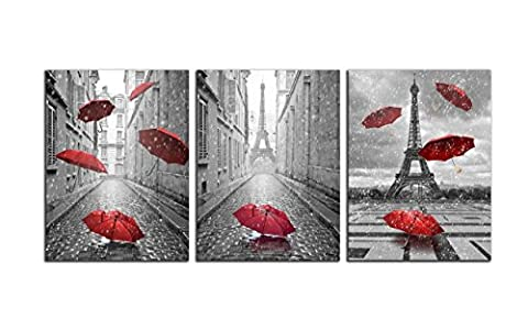 NAN Wind 3 Panels Modern Giclee Canvas Prints Paris Black and White with Eiffel Tower Red Umbrellas Flying Wall Art Landscape Wall Decor Paintings on Canvas Framed Ready to Hang for Home (Red And Black Canvas Art)