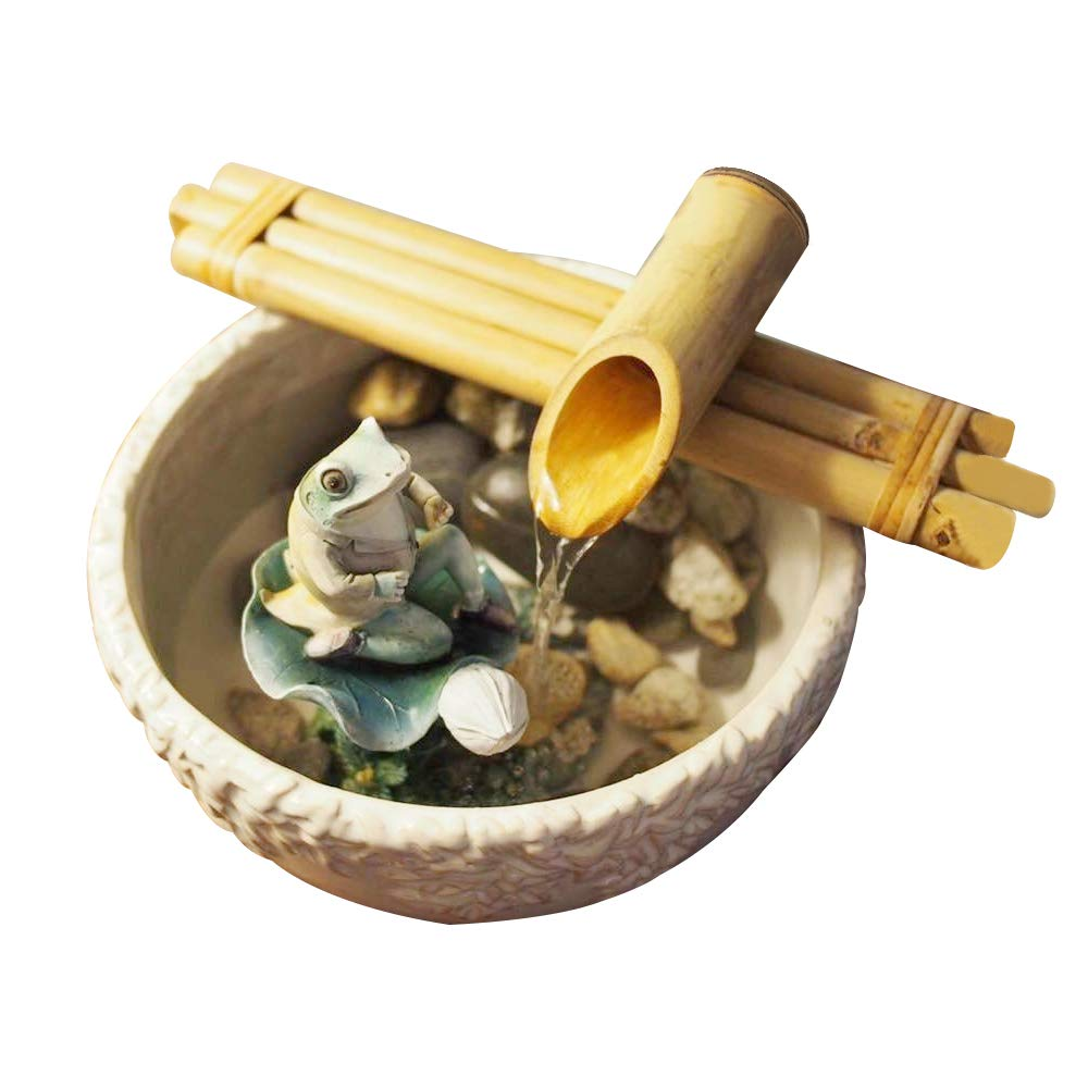 LSHCX Indoor Outdoor 13.7 Inch Bamboo Fountain with Pump Tabletop Waterfall Founain