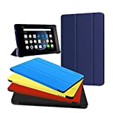 All-New Amazon Kindle Fire 8 Case,Zerhunt Premium Leather Slim Lightweight mart Shell Stand Cover for Fire HD 8 Tablet (2017/2016 Release,7th/6th Generation) with Auto Wake /Sleep Blue