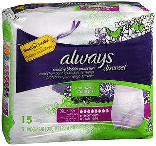 Always Discreet Underwear Maximum Absorbency Size Extra Large - 3pks of 15, Pack of 6 by Always