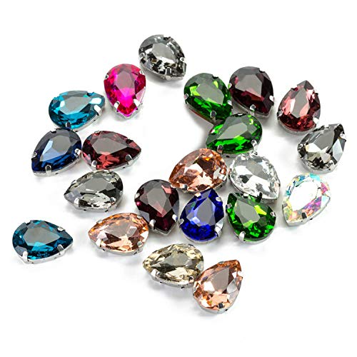 Teardrop Sew on Rhinestone by Choupee 48 PCS Sew on Crystal Glass Gems with Claw Flatback Mixed Color Large Rhinestones for Clothes, Dress, Jeans, Handmade Embellishment
