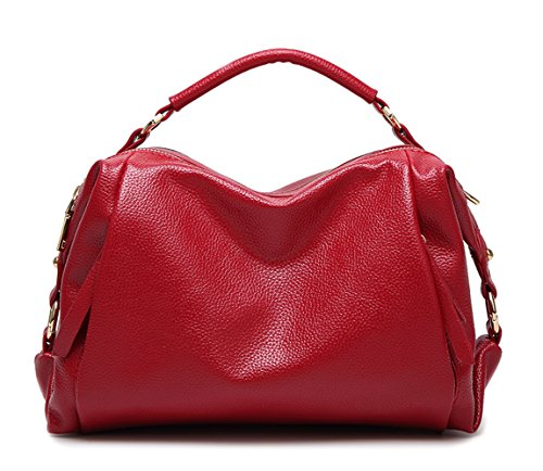 Mn&Sue Utility Women Soft PU Leather Handbag Shoulder Bags Top-handle Compartment Pillow Lady Satchel (Red)
