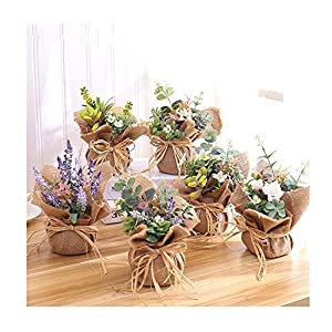 American Pastoral Style Simulation Linen Potted Fake Flower Decoration Wedding Decoration Dried Flower Bouquet Artificial Flower 99
