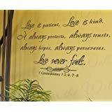 Love is Patient Kind Protects Trusts Hope 1 Corinthians 13 - Inspirational Home Motivational Religious God Bible - Adhesive Vinyl Quote Art Mural, Large Wall Lettering Decal, Saying Decoration, Sticker Decor