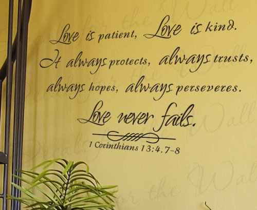 Love is Patient Kind Protects Trusts Hope 1 Corinthians 13 – Inspirational Home Motivational Religious God Bible – Adhesive Vinyl Quote Art Mural, Large Wall Lettering Decal, Saying Decoration, Sticker Decor