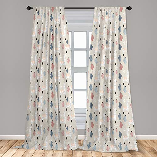 "Ambesonne Llama Window Curtains, Pattern with South American Animal Guanaco Cactus and Hand Drawn Childish Elements, Lightweight Decorative Panels Set of 2 with Rod Pocket, 56"" x 84"", Multicolor"
