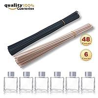 "PMLAND natural rattan reed diffuser sticks replacement stick 24pcs black,24pcs nautral sticks,Set of 6 Square Glass Diffuser Bottles - 3.25"" High."
