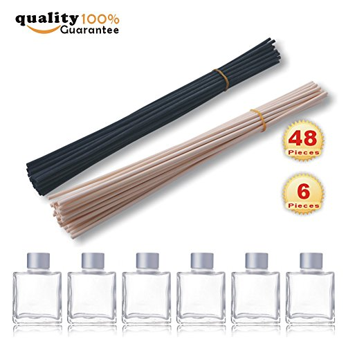 PMLAND natural rattan reed diffuser sticks replacement stick 24pcs black,24pcs nautral sticks,Set of 6 Square Glass Diffuser Bottles - 3.25