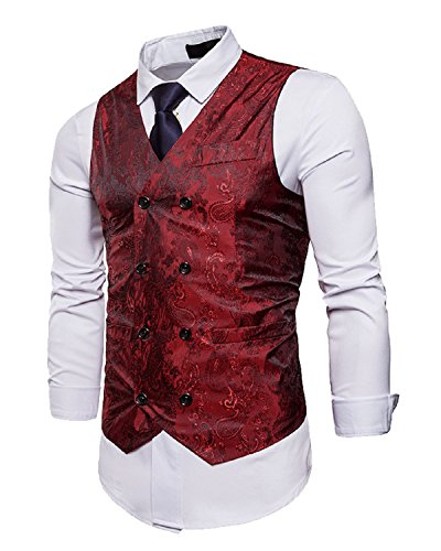 Hanmor Men's Fashion Slim Fit Double Breasted Paisley Tuxedo Vest Business Waistcoat Red Large by Hanmor