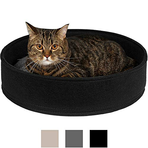 BRONZEDOG Cat Bed Round Soft Mat Comfortable Washable Removable Cushion Indoor Pet Beds for Cats Puppy Small Dogs Black Gray Beige (M, Black) (Beds Black Cat)