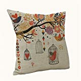 CoKate Bird and Birdcage Decorative Throw Cushion Cover Linen Square Throw Pillow Cover Bird with Birdcage 18 X18 Inches Owls with Birdcage Pattern, for Living Room, Sofa (D)