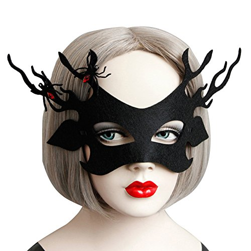 Masquerade Party - Sexy Women Gothic Felt Spider Halloween Costumes Decor Evil Deer Antlers Masquerade Party Fancy - Outfits Photo Props Costumes Balloons Masks Back Center Mask Pack Piece