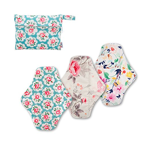 ALVABABY 3 PCS Reusable Bamboo Charcoal and Microfiber Cloth Menstrual Pads Regular Size 3WM01