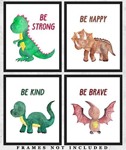 Dinosaur Watercolor Wall Art Prints: Adorable Nursery Room Decor - Set of Four (8x10) Unframed Pictures - Great Gift Idea for Nursery and Kids ()