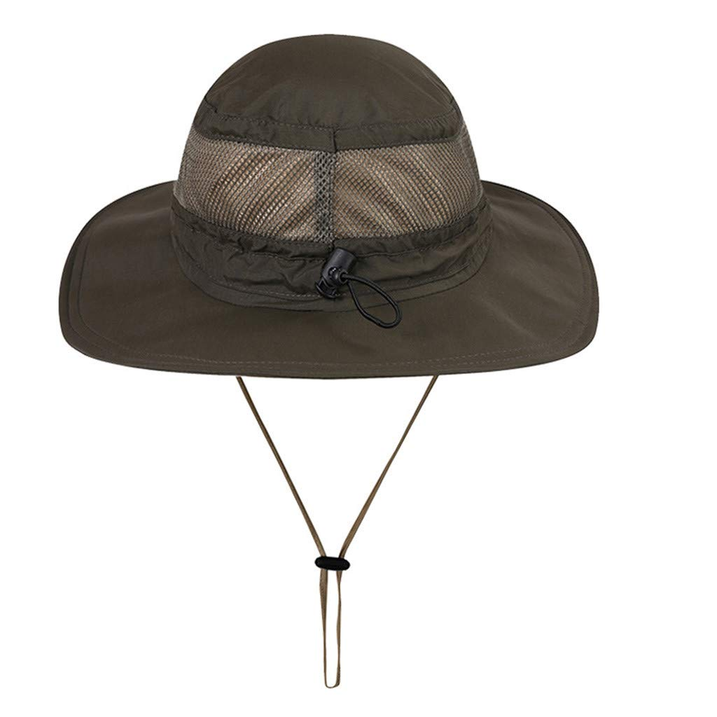 ✿✿Ratoop✿✿Unisex Sun Hat Fishing Boonie Cap Wide Brim Safari Hat Adjustable Drawstring Army Green