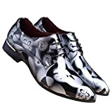 Santimon Men Fashion Shoes Dress Pointed Toe Floral Patent Leather Lace up Oxford
