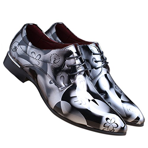 Men Fashion Shoes Dress Pointed Toe Floral Patent Leather Lace Up Oxford Grey 12 D(M) US
