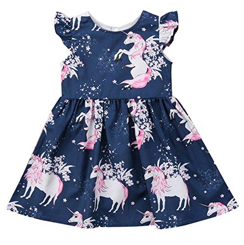 Jobakids Girls Summer Unicon Sleeveless Cotton Cute Print Casual Dress(Pink Unicorn 6T) -