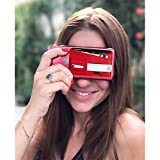 Slim PU Leather Phone Card Holder - Expanding Stand and Grip Phone Pocket Wallet Sticker Adhesive Card Holder for All Smartphones (Red)