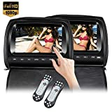 2x9 inch Touch Screen 1080P Car Headrest DVD Player Video Monitor with Leather Cover Zipper FM&IR Transmitter Games for Kids Road Trips Entertainment System (Black)