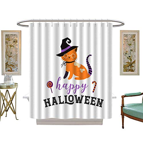 Iuvolux Shower Curtain CollectionHappy Halloween - Cats in Monsters Costumes Halloween Party Vector Illustration Banner Elements Set. Home Art Paintings Pictures Decorations W72 x H90 Inch -