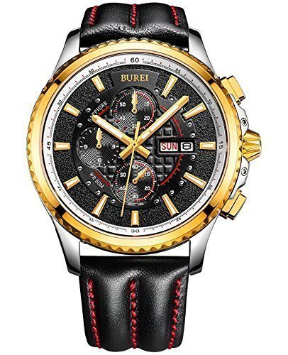 BUREI Men's Luminous Chronograph Day and Date Watch with Black Calfskin Band, Gold Bezel Black Dial