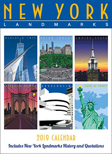 New York Landmarks Wall Calendar 2019 Monthly January-December 8.75'' x 12