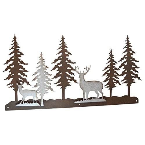 Pine Ridge Metal Wall Art 3-D Deer Scene Home Decor - Western Decorative Heavy Duty Wall Hanging Display for Home, Kitchen, Toilet and Bathroom ()