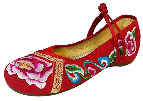 SMITHROAD Damen/Mädchen Slipper Mary Jane Halbschuhe Blumen Stickmuster mit Riemen Sandalen in Viele Farben Gr.34-41 Blume02 Rot