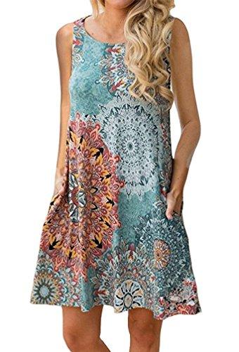 f6f86bad4c6 Demetory Women s Summer Sleeveless Tribal Print Plus Size Bohemian ...