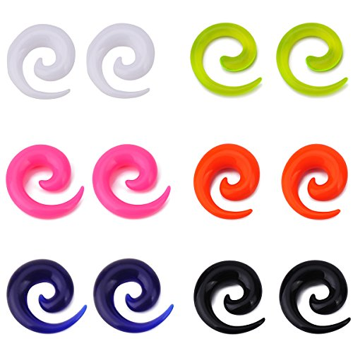 IPINK-12pcs Mixed Color 1.6MM-00G Uv Acrylic Snail Ear Plug Stretcher Spiral Taper Expander Gauge Kit (6 Pairs of 4mm(6G))