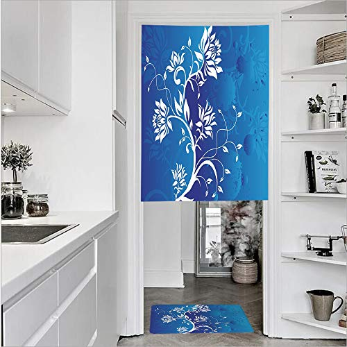 3D Printed Linen Textured French 1 Panel Door Curtains and 1pcs Doormat Kitchen Mat Rug,Violet Blue Classic Petals Background PastelSingle Panel door curtain 35.4