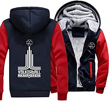 メンズフーディーフルジッパープリントラムシュタインフォルカーボールベルベットパッド入りフード付きセーターコートフリースフーディー、冬に適しています