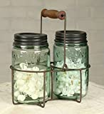 Rustic Wire Pint Mason Jar Caddy with Wood Handle in Green Rust Finish
