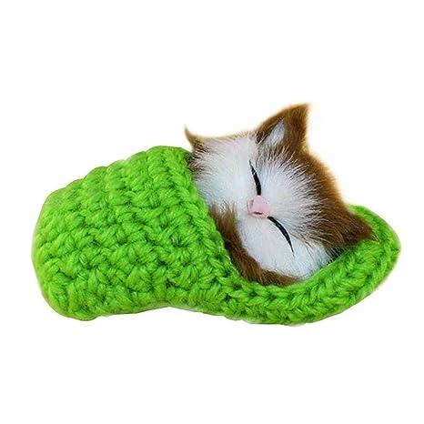 EisEyen Invierno Slippers Gatos Figuras pequeñas obsequios Simulación Dormir Gato Juguete Peluche Cumpleaños Regalos Decoración navideña