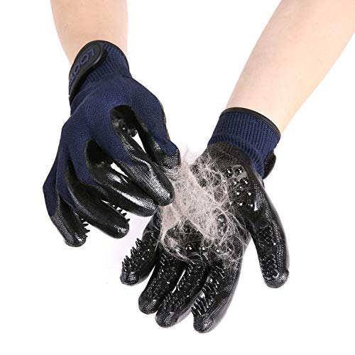 LOOTUS Pet Grooming Glove Mitt for Dogs Cats and Horses with Long and Short Fur, Enhanced 5 Finger Design Deshedding Hair Remover Massage Tool Pet Gloves