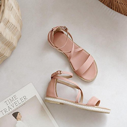Femmes Sangle Sandales pour Coolcept Pink Ouvert Croisee Bout xaq8wxnYZU