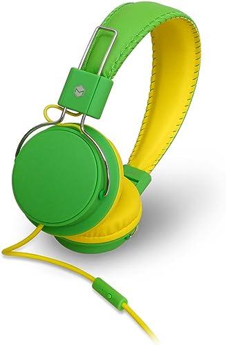 MQbix MQHT570GRN Earfoam Layers High Performance Headphones with Mic, Green