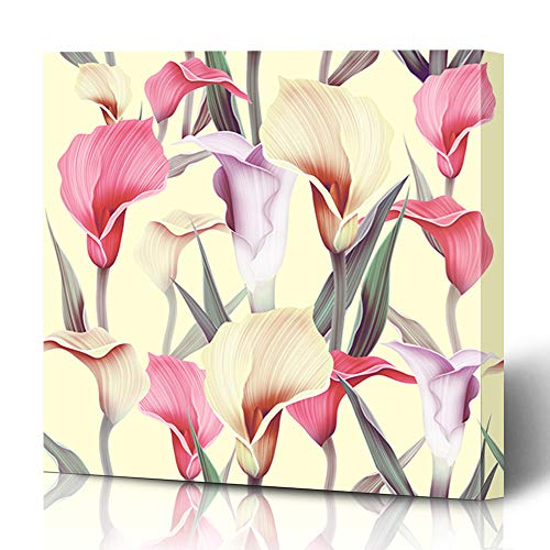 Ahawoso Canvas Prints Wall Art 12x12 Inches Petal Pattern Calla Lilly Flower Vintage Green Tropical Garden Floral Plant Polynesian Romantic Decor for Living Room Office -